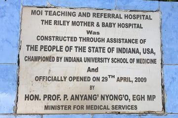 Plaque at the Riley Mother and Baby Hospital